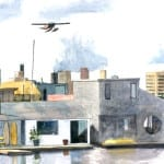 Lake Union Houseboats and Space Needle=